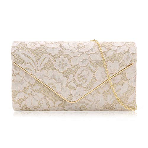Milisente Clutch Purses For Women Glitter Lace Clutches Evening Bag Floral Pattern Handbags For Wedding And Party(Champagne)