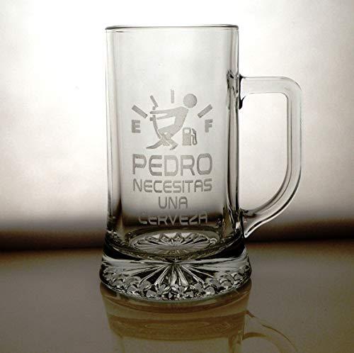 Arte-Deco Jarra DE Cerveza Stern GRABADA Y Personalizada con DISEÑO Nivel Cerveza para Hombre Y Mujer. UN Regalo Original Y Divertido para SORPRENDER A LA Persona Que VA DIRIGIDA
