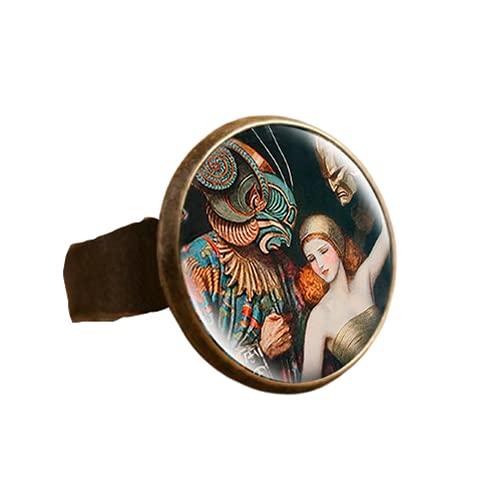 Die Kuss Klimt Starry Nacht Dome Glas Kunst Bild Ring Foto Handarbeit Schmuck Einstellbare Größe Ringe Geschenke für Frauen Mädchen