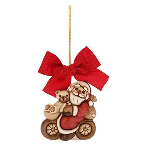 THUN ® - Addobbo Per Albero Di Natale Babbo Natale In Bici - Ceramica - H 6,5 Cm - Linea I Classici