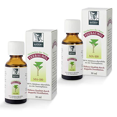 BADERs Teebaumöl. Der Klassiker aus der Apotheke. Doppelt destilliert. Desinfizierend. Australisches Melaleuca alternifolia. 2 x 30ml