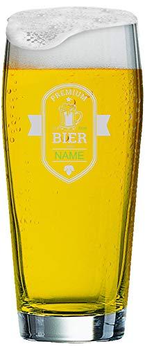 MeinGlas GmbH Willi Becher 0,5 l mit individueller Gravur | Graviertes Willi Bierglas mit Namen nach Wunsch und Premium-Logo (Premium Bier)