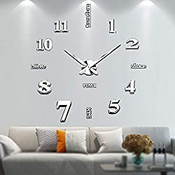 Vangold Large DIY Wall Clock Modern 3D Wall Clock with Mirror Numbers Stickers for Home Office Decorations Gift