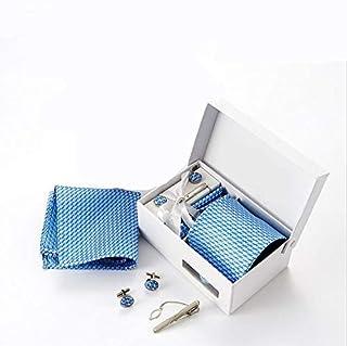 مجموعة ربطة عنق بتصميم تارتان ازرق عالية الجودة، ومشبك وازرار اكمام ومنديل، ربطة عنق رسمية للعمل للرجال - مقاس X