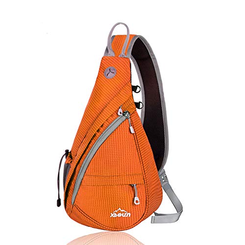 Xboun Sling Backpack Chest Shoulder Bag Crossbody Cycling Travel Hiking Daypack (Orange)