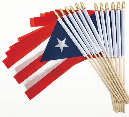 25 Pack Small Mini Puerto Rico Flags on Wooden Stick Hand Held Puerto Rican Flag International World Country Stick Flags,Olympic Games