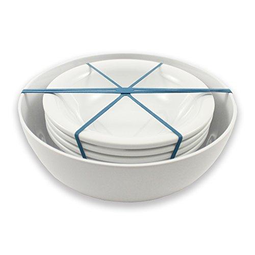 CARTAFFINI SRL - Juego de ensalada y pasta para 4 personas, de melamina, color blanco óptico.