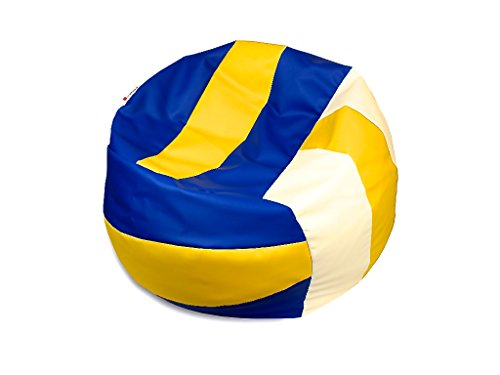 kissenwelt.de Sitzsack Volleyball M (Ø 90cm) - Kunstleder - Gelb/Blau/Weiss - Made in Germany