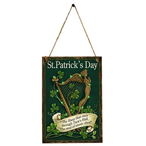 Amosfun Plaque Murale en Bois Rétro avec Trèfle Shamrock Harpe Ange Décoration Saint Patrick Irlandais St Patrick's Day Décorative Vintage avec Ficelle 40cm
