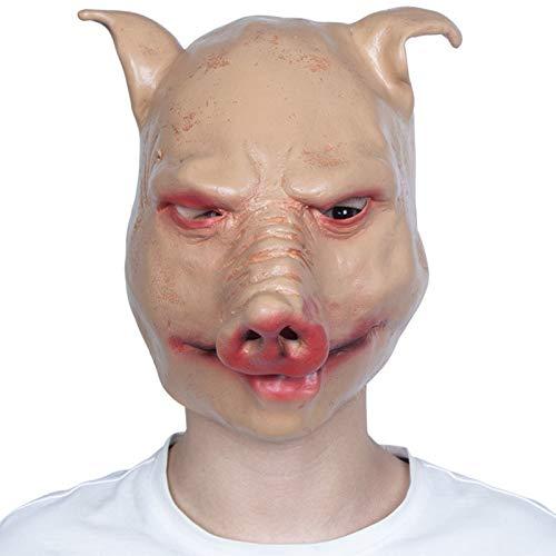 YHX Mscara de Animal de Halloween, Tocado de ltex de Terror para Adultos, mscara de Cabeza de Cerdo de Fiesta, Cara Completa