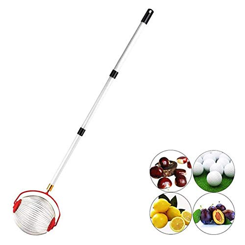 Fruit Picker with Telescopic Handle Fruit Picker Basket with Detachable Stainless Steel Pole Professional Metal Fruit Picking Tool Length 50 Inches