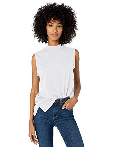 Amazon Brand - Goodthreads Women's Washed Jersey Cotton Sleeveless Mock-Neck T-Shirt, White, X-Large
