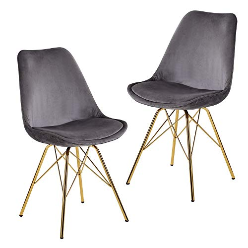 FineBuy Esszimmerstuhl 2er Set Samt Grau Küchenstuhl mit goldenen Beinen | Schalenstuhl Skandinavisches Design | Polsterstuhl mit Stoffbezug | Stuhl Gepolstert