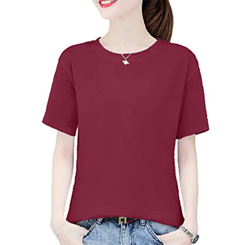 LQIQI Damen T-Shirt Kurzarm Rundhals Einfarbig Baumwolle Lässiges Klassik Bluse Casual T-Shirt,Rotwein,M