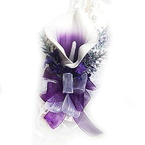 Silk Flower Arrangements Lily Garden Purple Picasso Calla Lilies Wedding Floral Set Artificial Real Touch Flowers (Lavender Wrist Corsage)
