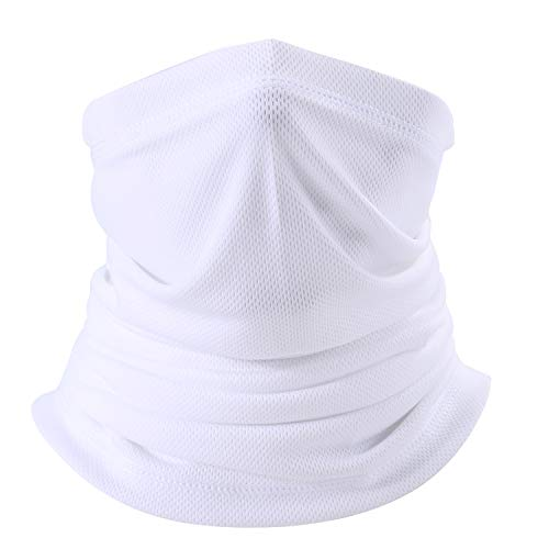 LONGLONG Summer Face Scarf Mask - Windproof, Breathable and Thin Cycling Hiking Fishing Cool Bandana White