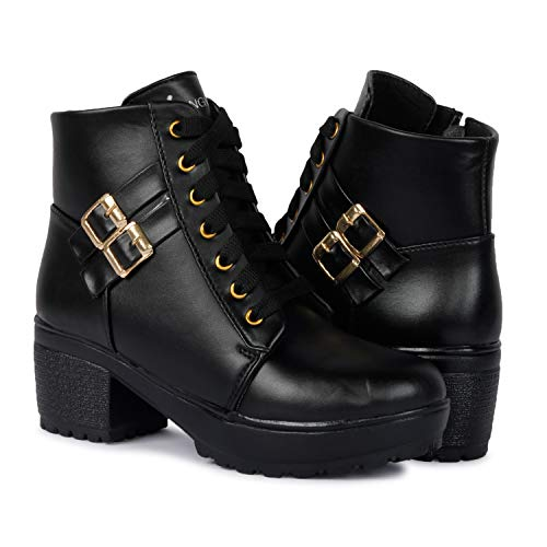 Longwalk Women Fashion Casual Boot High Ankle Heel for Girls Boot (Black, Numeric_8)