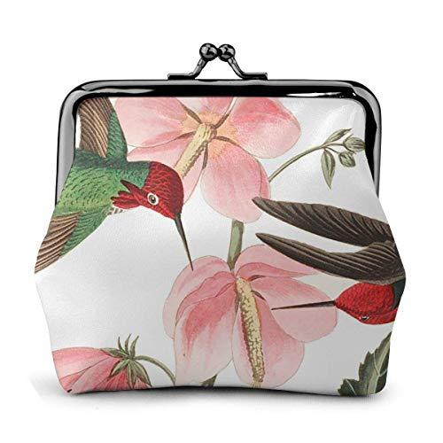 Pink Lovely Hummingbird Art Simple Vintage Pouch Girl Kiss-Lock Change Monedero Carteras Hebilla Monederos de Cuero Clave