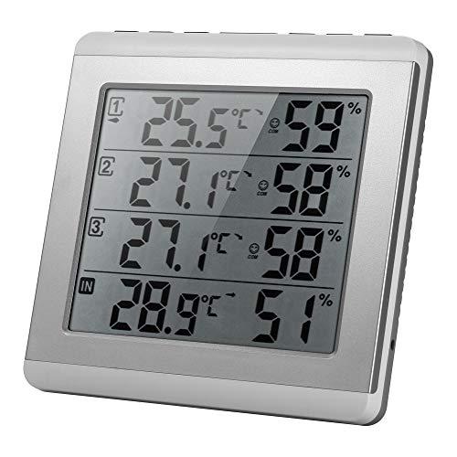 温度湿度計 LCD デジタルワイヤレス 屋内/屋外温度計湿度計 最大湿度表示温度トランスミッタ付き