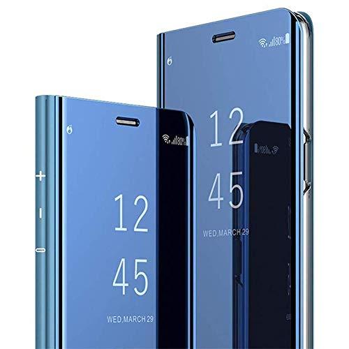 QPOLLY Miroir Coque Compatible avec iPhone 11, Portefeuille à Rabat Etui en Cuir + Dur PC Transparent Clear View Design Placage Folio Housse de Protection avec Fonction Stand,Bleu
