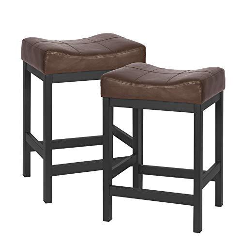 KATDANS Bar Stools Set of 2-Counter Height Stools - 24 Inch Saddle Stool - PU Leather Kitchen Stools - Brown/Black - Metal Base, KS861P-B