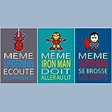 3 affiches superhéros avec citation, spiderman, superman, chaque affiche fait 20 x 30 cm