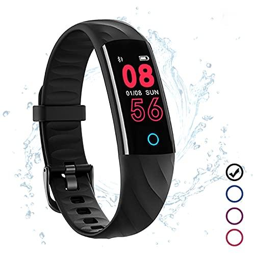 Fitness Armband Wasserdicht IP68 Schwarz Fitness Tracker Kinder mit Pulsmesser Schlafmonitor Blutdruck Blutsauerstoff Monitor Schrittzähler Aktivitätstracker Uhr Smartband für IOS Android