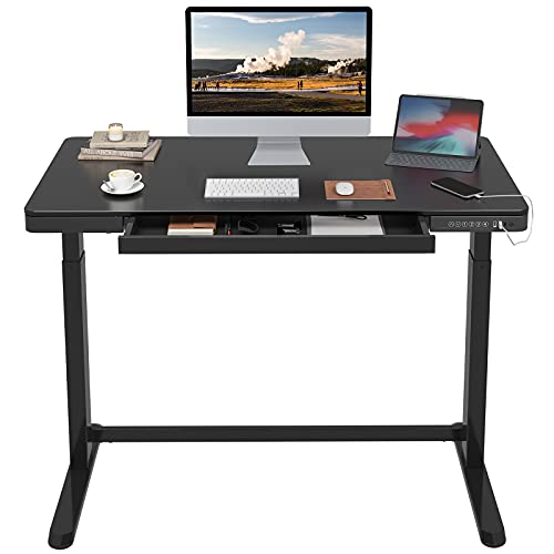 FLEXISPOT Standing Desk with Drawers Electric Stand up Desk 48 x 24 Inches Black Desktop and Adjustable Frame Quick Install Home Office Table Comhar All-in-One (2.4A USB Charging Ports, Child Lock)