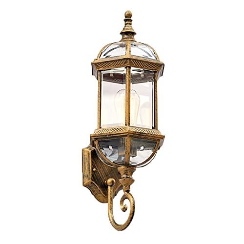 SXNYC Massive Lanterna da Esterno, Lampada da Parete in Alluminio Antico per Viale di Ingresso Cortile Luce Illuminazione Ingresso Giardino
