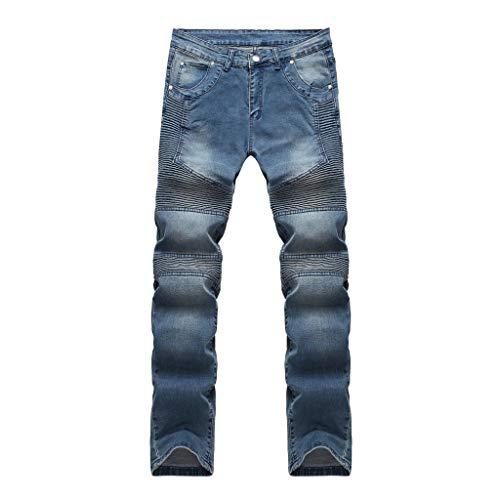 Feytuo Herren Jeans Lang Hosen Slim Fit Elegant Hosen Falten Freizeithose Mode Neu Cargo Outdoor Hose Tasche Einfarbig Sport Casual Herbst Winter Sale