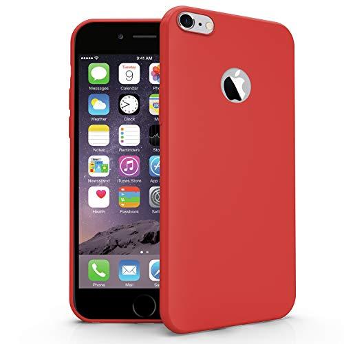N NEWTOP Carcasa compatible para Apple iPhone 6 y 6S, funda de TPU suave gel silicona ultra fina flexible carcasa trasera protectora (rojo)