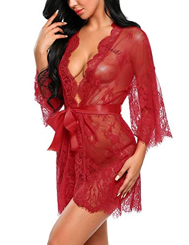 Avidlove Women Kimono Robe Lace Lingerie Babydoll Set Mesh Nightgown with Satin Belt
