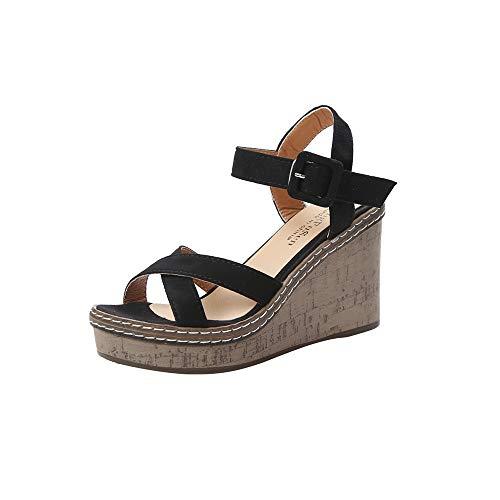 scarp con tacco plateau sandali bianchi sposa scarpe sandalo tacco scarp marron donna infradito donna mare ciabatt mare zeppa ciabatt suola alta (22C-Black,34)