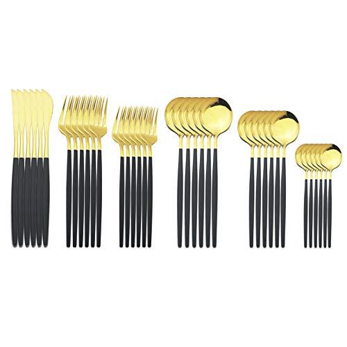 JASHII 18/10 Silver Silverware Set Stainless Steel Flatware Utensils Set Gold Cutlery Set| 36-Piece Modern Cubiertos Dorados| BEST Birthday Wedding Gift (6 sets, Black Handle Gold Mirror Polish)