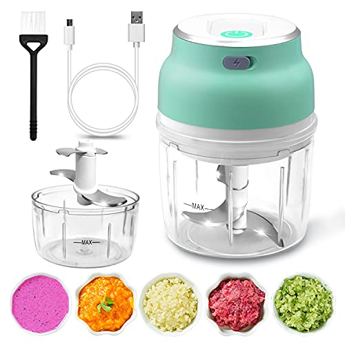 CCJK Electric Mini Garlic Chopper, Portable Mini Food Chopper, Wireless Food Processor, Rechargeable Mincer Crusher For Spices, Garlic, Onion, Meat, Baby Food, 2 Cup(230ml+150ml) 3 Blade and 4 Blade