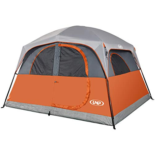 UNP Tents 6 Person Waterproof Windproof Easy Setup,Double Layer Family Camping Tent with 1 Mesh Door & 5 Large Mesh Windows -10'X9'X78in(H) Orange