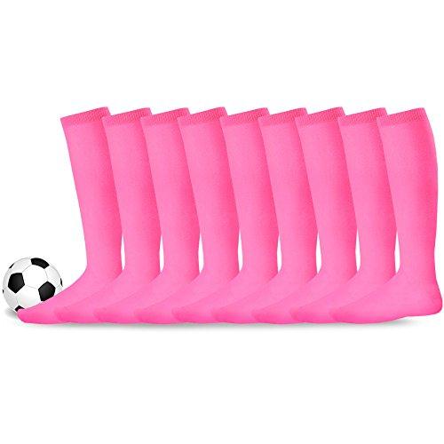 Soxnet Acrylic Unisex Soccer Sports Team Cushion Socks 9 Pack, Hot Pink, 11-Sep