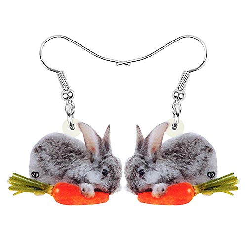 N\A Acrylic Gray Easter Hare Bunny Rabbit Carrot Earrings Printed Animal Pendant for Women and Kids Reddish Brown