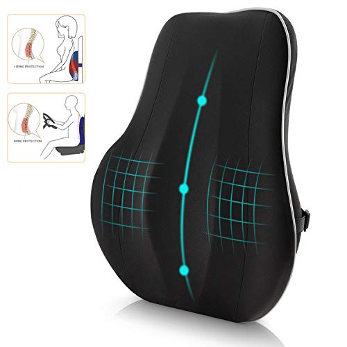 Newgam Lumbar Support Pillow/Back CushionMemory Foam Orthopedic Backrest with Breathable 3D Mesh for Car SeatOffice/Computer ChairWheelchair and ReclinerErgonomic Design for Back Pain ReliefBlack