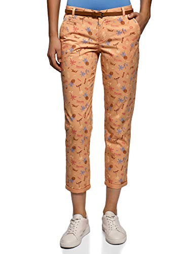 oodji Ultra Mujer Pantalones Chinos con Cinturón, Rosa, ES 40 / M
