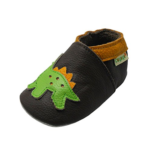 SAYOYO Baby Dinosaurs Soft Sole Leather Infant and Toddler Shoes (Dark Brown,12-18 Months)
