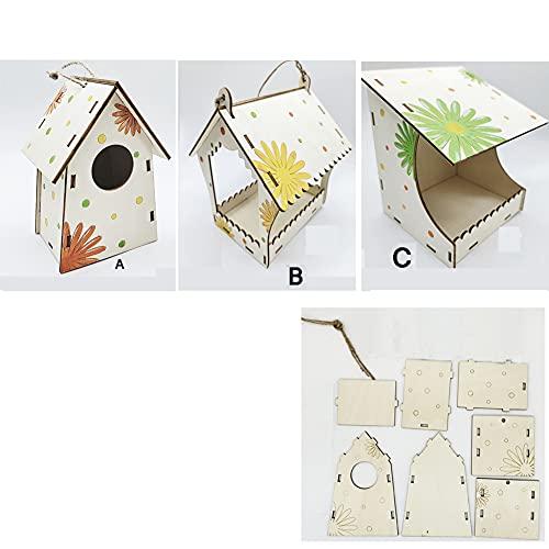 Vogelfutterstation aus Holz, 3 Gruppen von Vogelhaus, kreative bemalte Montage, enthält Malwerkzeuge
