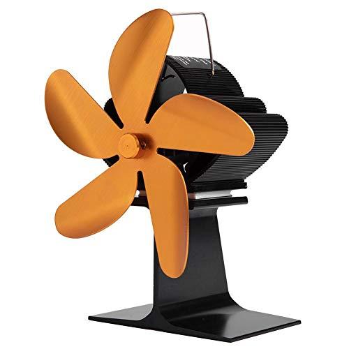 Wärmebetriebener Herdventilator, 5 Flügel Kaminlüfter, Heizventilator, Leiser Heizofen Kühler Lüfter, Verwendung für Holzöfen, Gasherde, Pelletöfen usw.