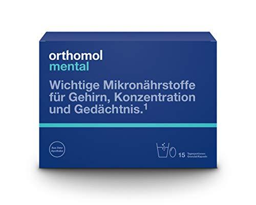 Orthomol mental 15er Granulat & Kapseln - Mikronährstoffe zur Unterstützung von Konzentration, Gehirn & Gedächtnis