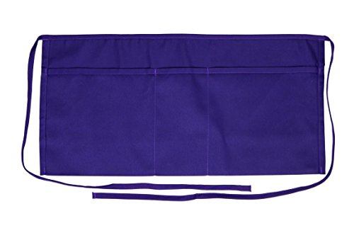 Iconikal Restaurant Grade 3-Pocket Waist Apron, Purple, 5-Pack