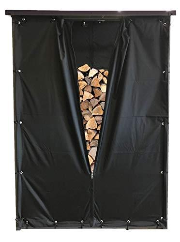 QUICK STAR Wetterschutz Set Front und Rückwand für Kaminholzunterstand 130x70x185cm PVC Schwarz