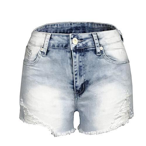 HOSD High Taille Hüftlifting Fransen Fransen Damen Denim Stretch Shorts