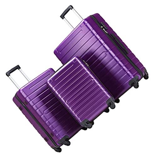 BESPORTBLE Maleta Giratoria Ligera de Cáscara Dura con Ruedas Giratorias Y Cerradura TSA 3 Unids/Set (Púrpura)