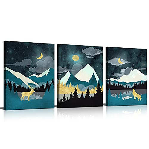 Abstract Wall Art for Bedroom 3 Panels Landscape Painting Animals Star Sky Pictures Canvas Prints Mountain Forest Artwork Bathroom Wall Décor Moon Night Scenery for Bedroom Home Office Living Room Décoration 3 Panels