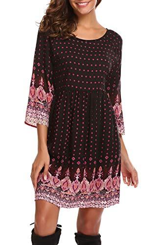 SE MIU Tunika-Kleid für Damen, weihnachtliches Design, Ethno-Muster, langärmelig -  -  Klein